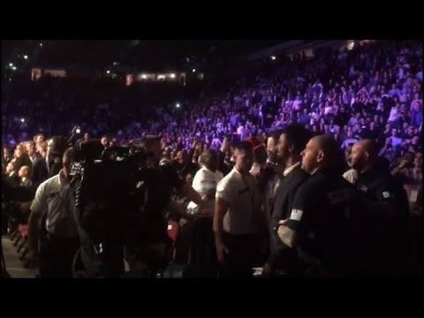 SHANNON BRIGGS GOES AFTER DAVID HAYE; TRIES TO GRAB HIM, BUT RESTRAINED BY SECURITY AT JOSHUA-MOLINA - http://www.truesportsfan.com/shannon-briggs-goes-after-david-haye-tries-to-grab-him-but-restrained-by-security-at-joshua-molina/