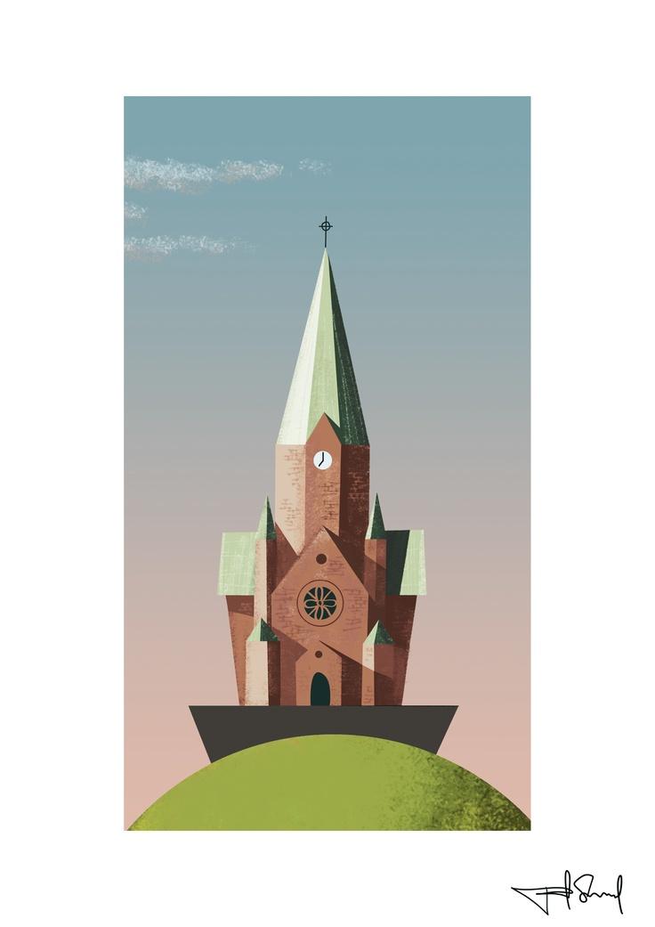 Sofia kyrka, Stockholm. Illustration by Fredrik Skyllbäck