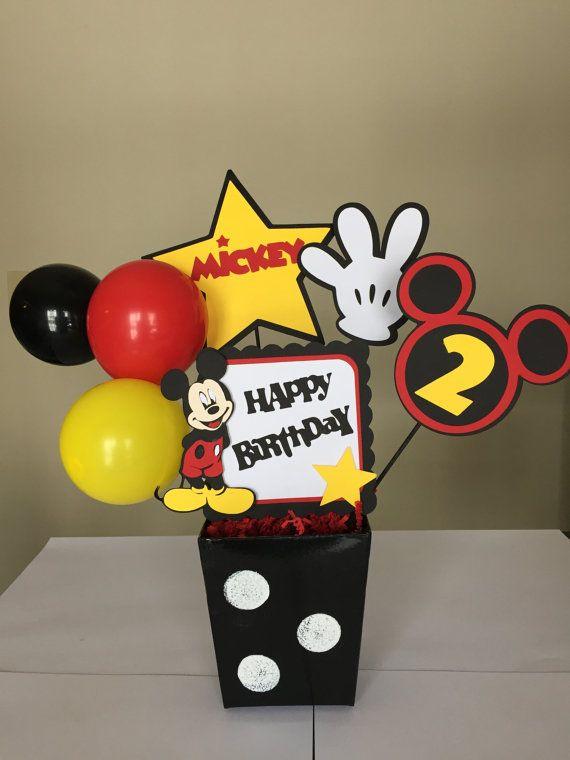 Ratón de Micky feliz cumpleaños centros de mesa, decoraciones de cumpleaños de Mickey Mouse/Minnie Mouse decoraciones fiestas Mickey Mouse