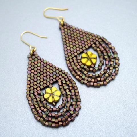 Beaded Khaki Olive Earrings