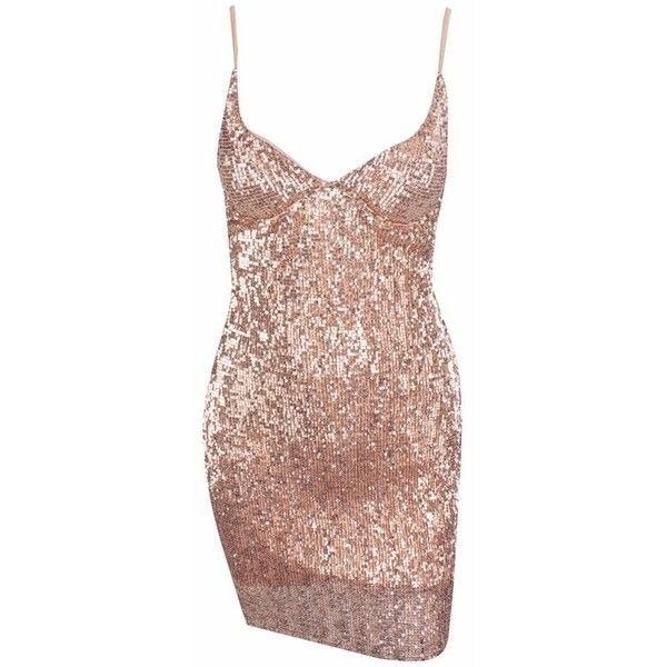 Drawn To You Champagne Sequin Sleeveless Spaghetti Strap V Neck... ($100) ❤ liked on Polyvore featuring dresses, cocktail party dress, bodycon mini dress, sequin cocktail dresses, deep v neck dress and short sequin dress