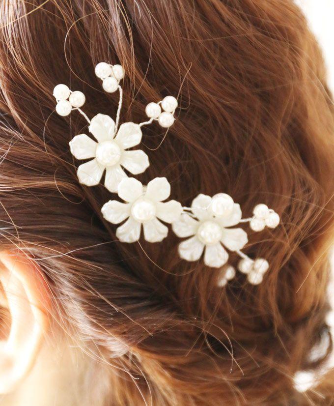 【楽天市場】【再入荷♪1月25日12時&22時より】「french」パールの花咲く可憐な髪飾り。ヘアアクセサリー:cawaii