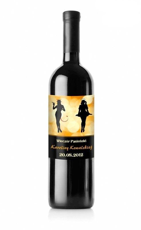 Etykieta z z imieniem przyszłej Panny Młodej - idealna na wieczór panieński przy winie