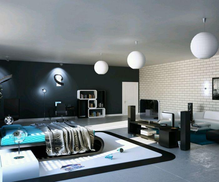 Elegant Wandfarben Ideen Jugendzimmer Schwarze Akzentwand Weiße Ziegelwand Awesome Design