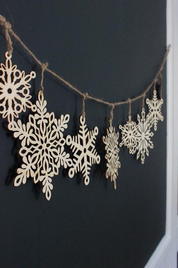 Beautiful wood snowflake garland