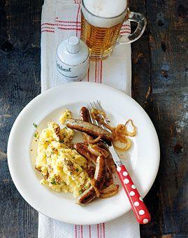 Rostbratwürstchen mit Senf-Kartoffelbrei