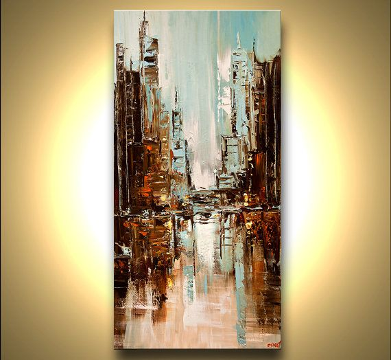 original city painting modern acrylic palette knife abstract painting the city by osnat 48 u0026quot  x 24