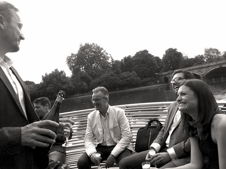 Designer Si with Rachel, Jim and Matt  - Starting the evening with a bit of Champers at the Siren #SummerParty
