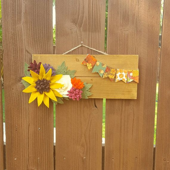 Fall pallet sign with felt flowers by ForeverFeltDesigns on Etsy