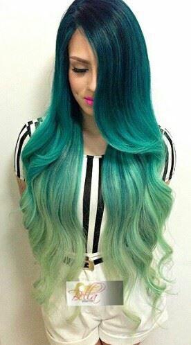 Azul con puntas verdes...