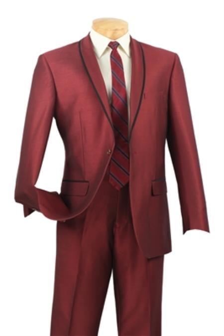 SKU#PN-X71 Shawl collar Tapered Leg Lower rise Pants & Get skinny Maroon Mens Fashion Slim Fit Suit