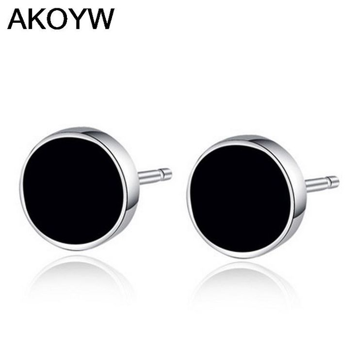 Silver plated earrings perfect circle wild black amethyst jewelry lady lovely high quality men's fashion jewelry