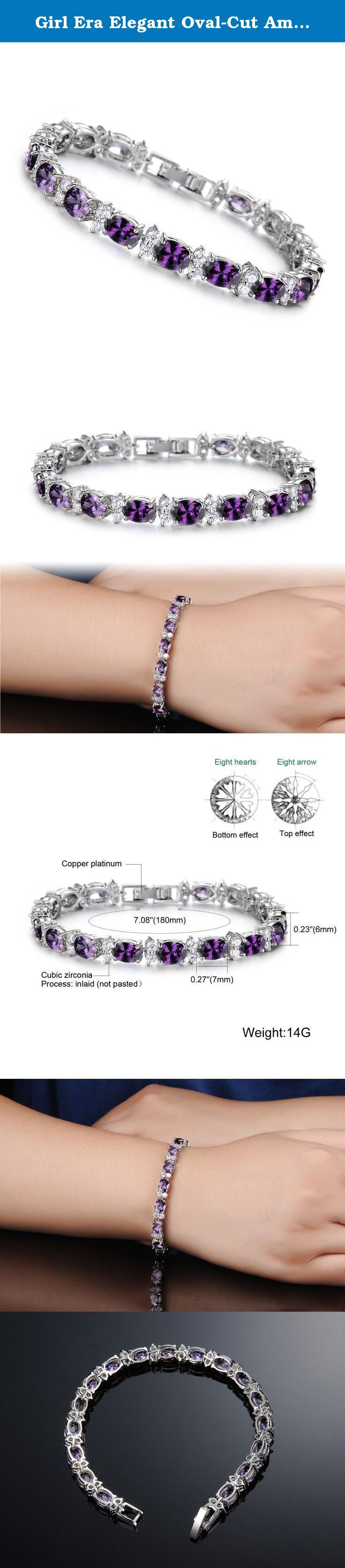 Girl Era Elegant Oval-Cut Amethyst with Genuine Tennis Bracelet Charm Bracelets. Our Mission is to spread generosity. We create beautiful and handcrafted pieces that tell a story. When you purchase a Girl Era product, you are joining the mission. When you wear your Girl Era piece, you are spreading the word. Affordable fashion Jewelry, gorgeous design quality jewelry at sweet price. Fresh color and elegant add dazzling color to an ensemble with this rhinestone jewelry. This item provides…