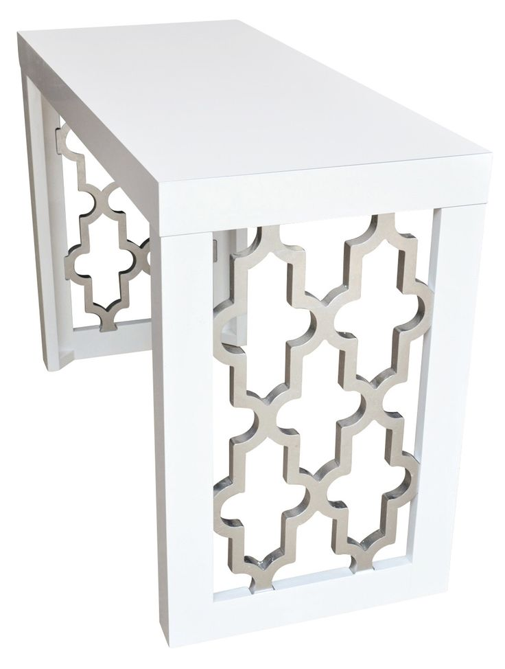 """19) Shimmering Silver Console Table, 31""""H x 47""""W, trade price $883.99"""