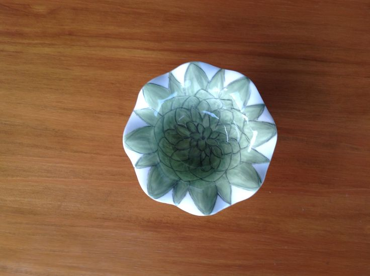 Ceramic succulent sweet bowl. Gand painted by Lyn Stevenson