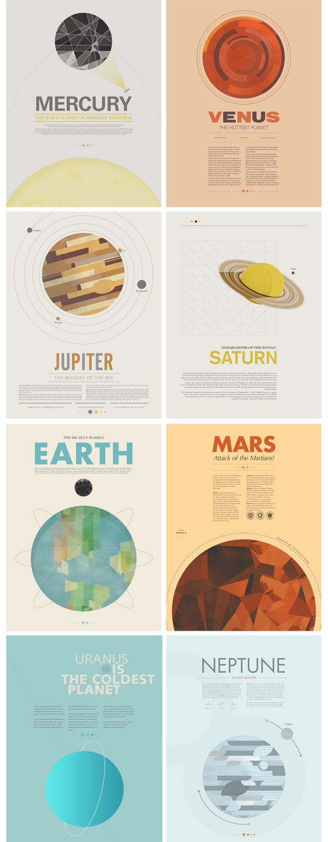 Beyond Earth: A Minimal Poster Series by Stephen Di Donato. Good ideas for space themed work.