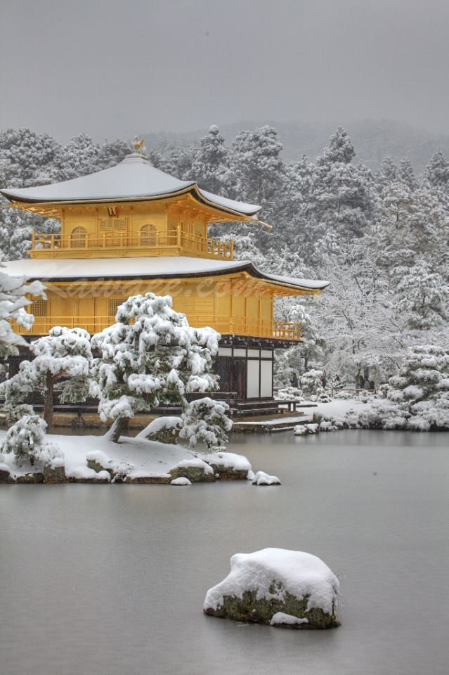 Kinkaku-ji temple in snow, Kyoto, Japan