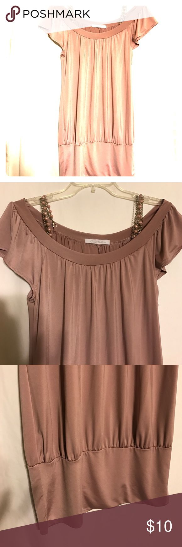 ‼️TODAY ONLY‼️ Charlotte Russe Top Adorable polyester & spandex top with attached beads Charlotte Russe Tops