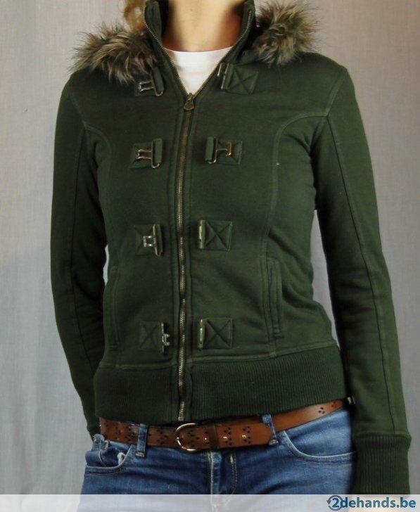 Groene trui met pelskraag van Bershka - Maat large