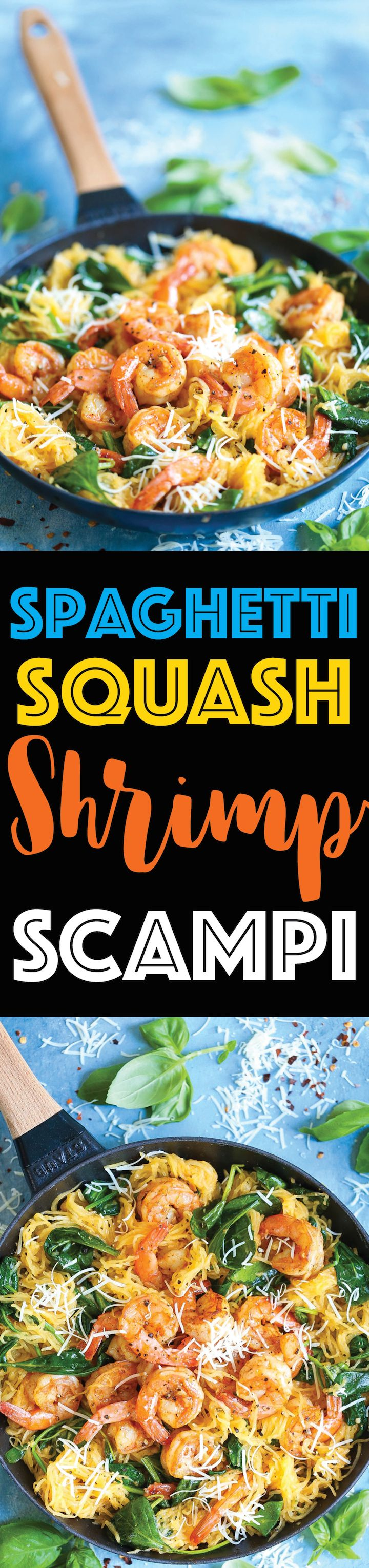 Shrimp Scampi Spaghetti Squash - Everyone's favorite shrimp scampi with a low-carb, healthier alternative to pasta using spaghetti squash! It's still amazingly buttery and garlicky with half the calories!