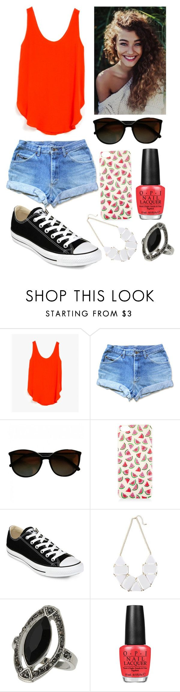 """""""Une tenue d'été qui a du pep's"""" by choco-lat ❤ liked on Polyvore featuring Azalea, Chanel, Accessorize, Converse, Topshop and OPI"""