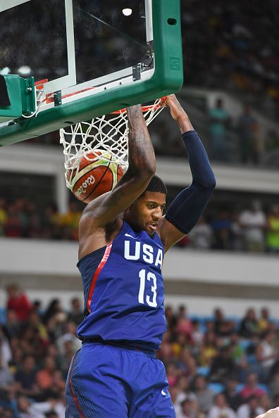 #RIO2016 Best of Day 1 - Paul George of the USA Basketball Men's National Team dunks against China on Day 1 of the Rio 2016 Olympic Games at Carioca Arena 1 on August 6 2016...
