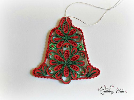 Quilled Christmas bell-quilled bell-ornament by PaperArtbyAda