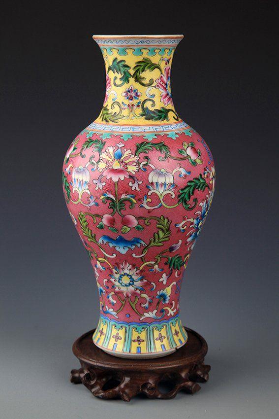 Asian museum vases black matt bird design historic