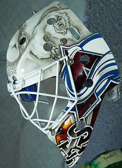 Calvin Pickard 2013 Colorado Avalanche mask left side