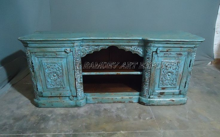 Reclaimed Painted Wooden Carved Plasma Cabinet