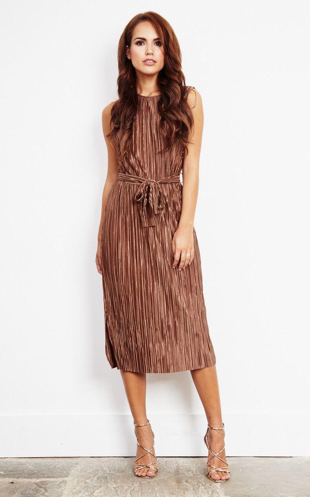 Copper Pleated Midi Tie Dress