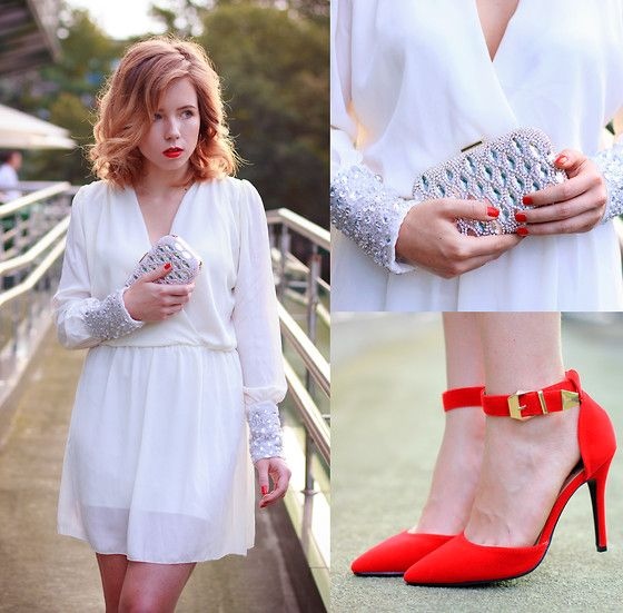 The contrast between bold and sutlle is absolutely gorgeous a white sequined dress with a red strapped heel