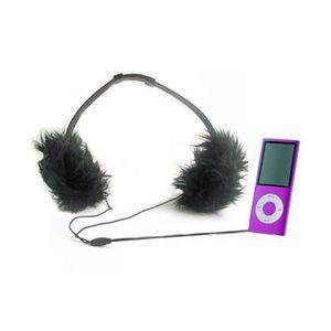 Casque audio girly fourrure noire, cadeau geek girly