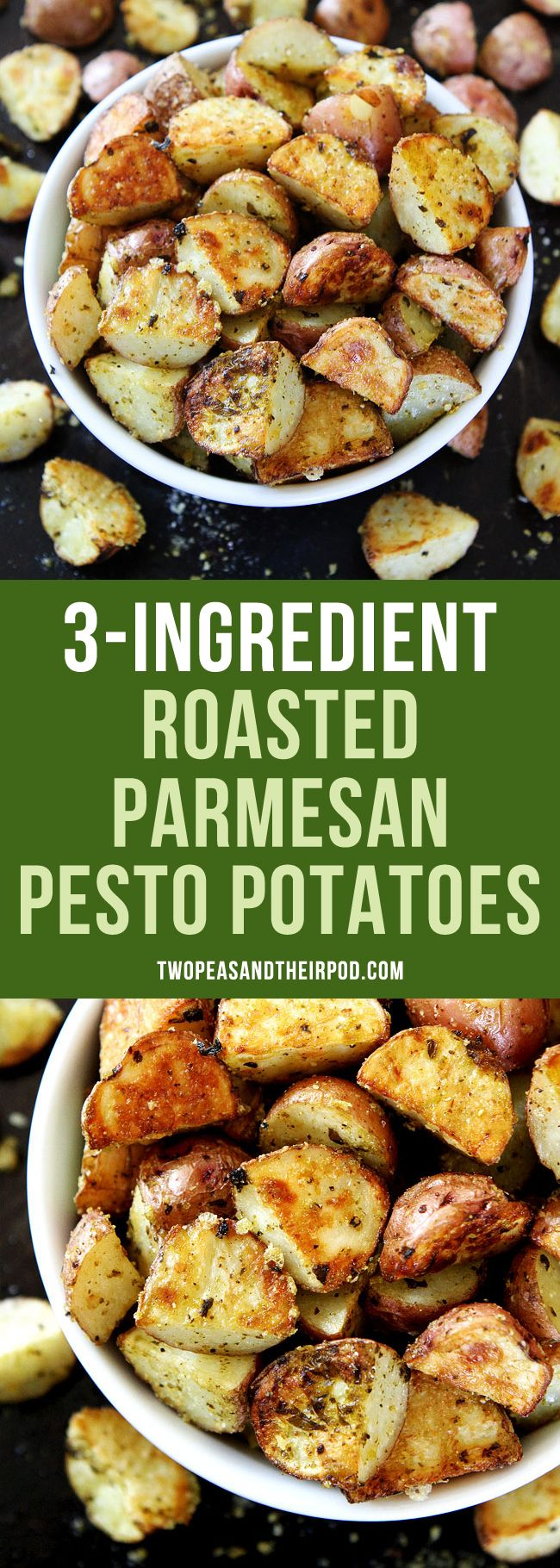 3-Ingredient Roasted Parmesan Pesto Potatoes You only need three ingredients to make these roasted potatoes. An easy side dish that goes great with any meal!