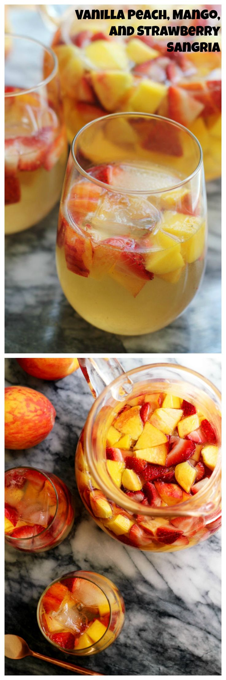 Juicy seasonal fruit makes this vanilla peach, mango, and strawberry sangria perfect for summer sipping.