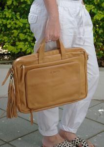 Charlie Work Tote - Light Tan - St. Moritz Design - Summer Shoes, Handbags, Slides and Accessories. Flat Leather Slides