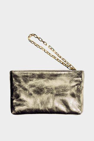 Affaire Golden Leather Wristlet