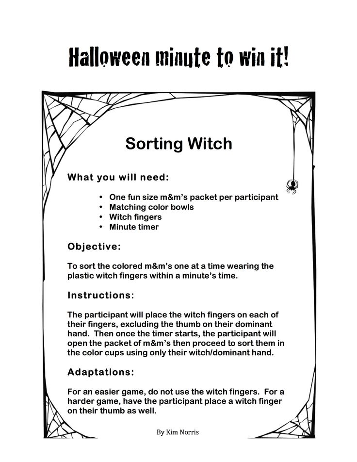 Halloween Themed Minute to Win It - Sorting Witch