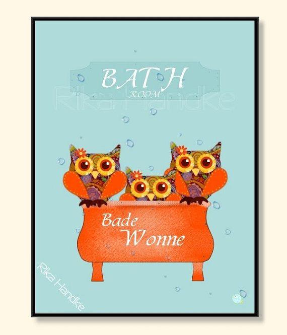 Fabulous Owl Eule Vintage Poster Bad Druck Print Art Kunst von itsybepapers