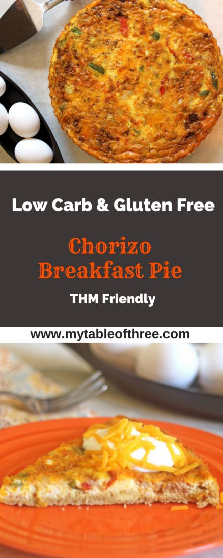 This Chorizo Breakfast Pie from My Table of Three is a great low carb breakfast or brunch dish. The rich and spicy dish is low carb, gluten free and THM.