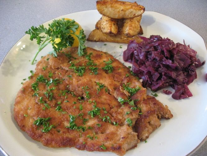 How to make Schnitzel from a German cooking site.  Very tasty!