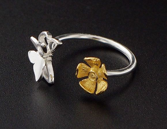 925 Sterling Silver Butterfly and Golden Flower Wire Ring  Size 5 US #Band
