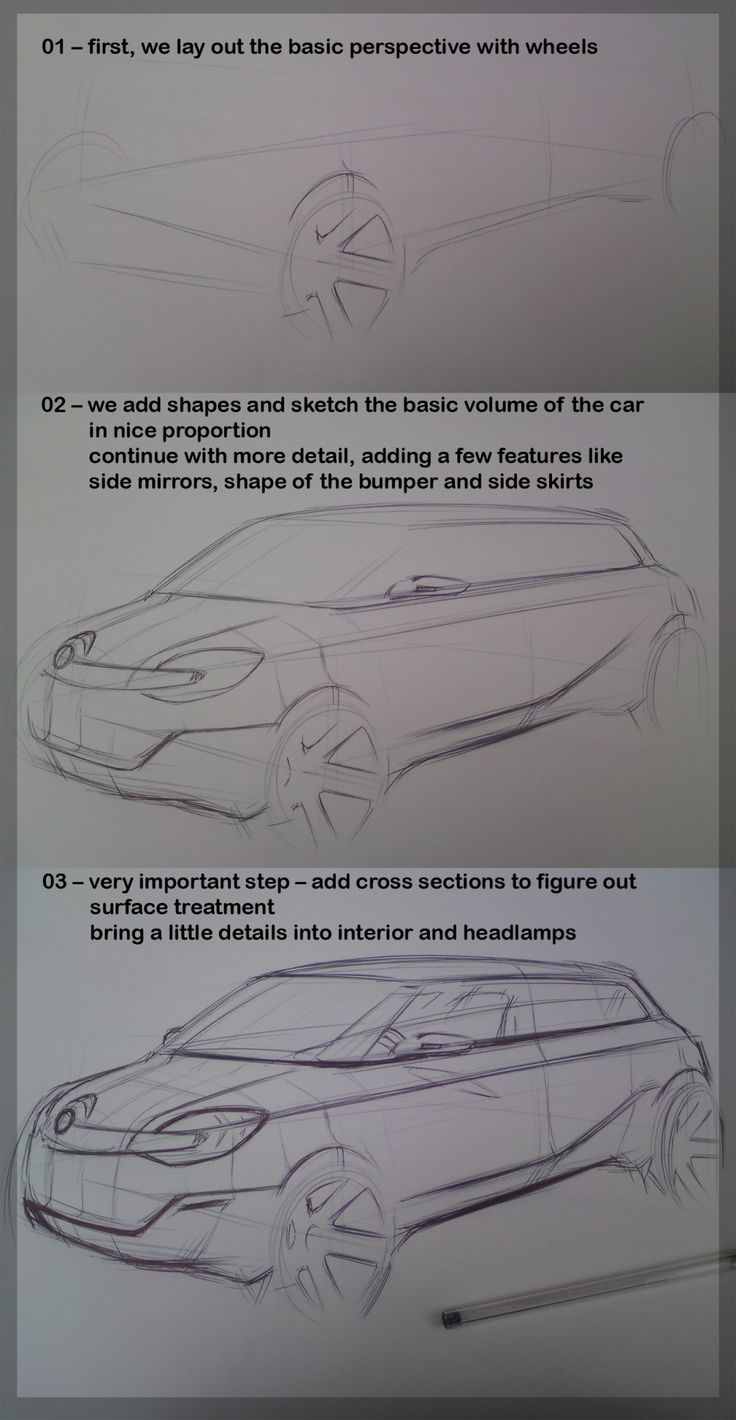 Drawing tutorial by Michal Uhrin, nice tutorial shows step by step how to draw a car.