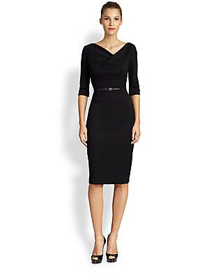 Black Halo Jackie O. Three-Quarter Sleeve Dress