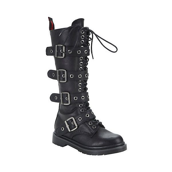 Demonia By Pleaser Rival 4 Buckle Combat Boots Hot Topic ($98) ❤ liked on Polyvore featuring shoes, boots, buckle combat boots, buckle boots, platform boots, black army boots and faux leather lace up boots