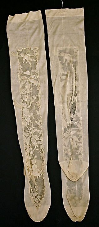 Antique ladies patterned silk stockings