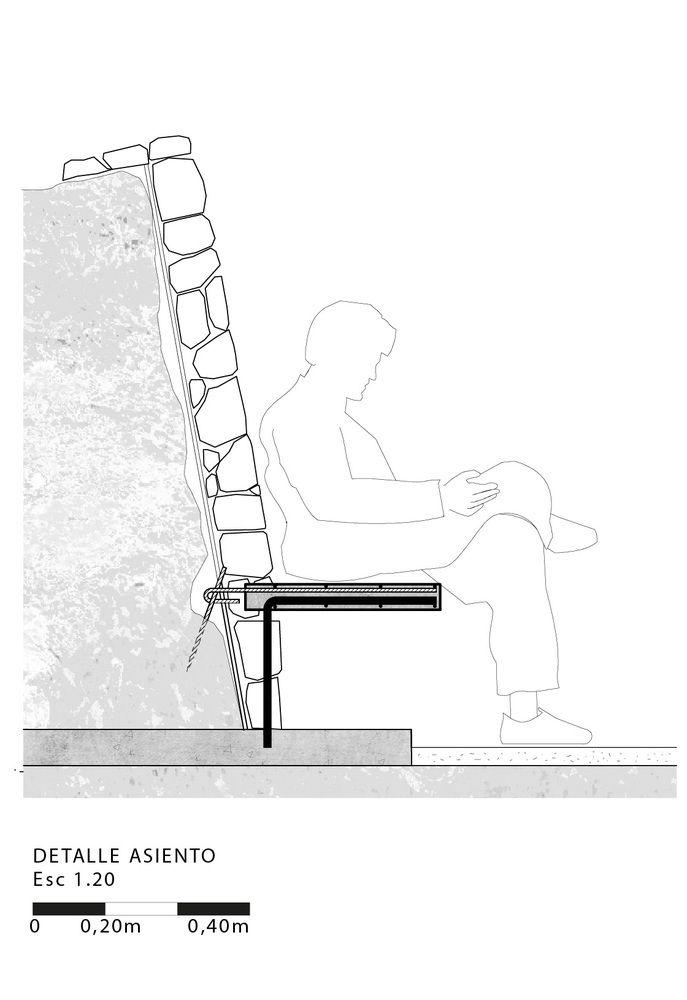 Mirador Asomo al Vacío: un espacio de contemplación hecho de gaviones / Loreto Mellado Medel, Detalle Asiento Más