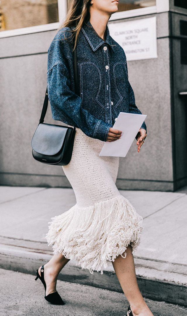 Denim jacket + frilled skirt