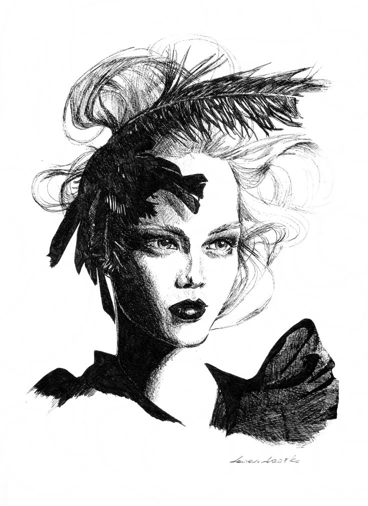 Woman with a feather / inspired by face from magazine