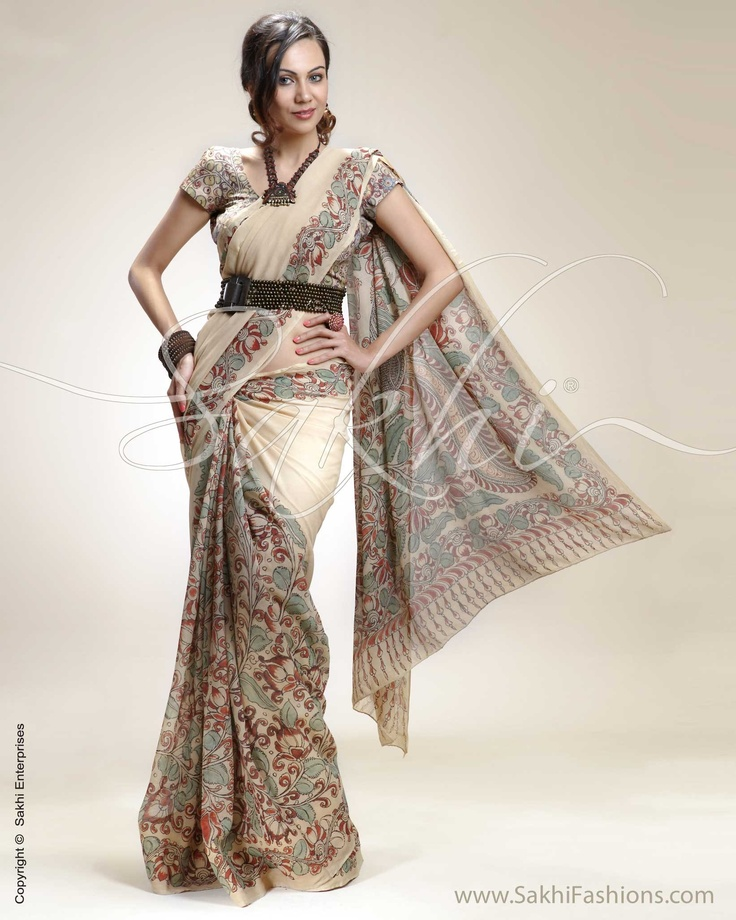 Earthy elegance personified in Kalamkari hand painting on flowing Chiffon silk saree. Click http://www.sakhifashions.com/saree/craft/kalamkari/sr-0208-chiffon-n-kalamkari.html